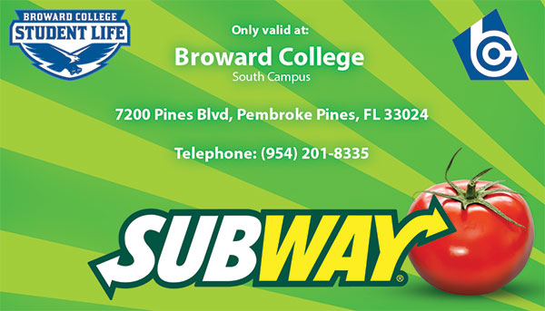 Subway Rewards Card Broward College Student Life.
