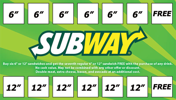 Subway rewards card graphic design.