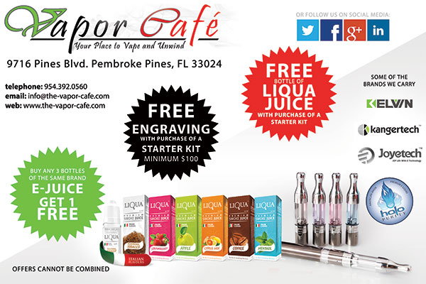 Graphic design for Vapor Cafe flyer.