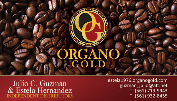 Julio C. Guzman and Estela Hernandez Organo Gold Business Cards