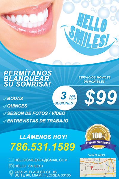 Teeth Whitening Flyer Design in Spanish.