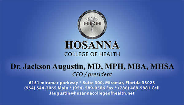 Business Card for Hosanna college of Health.