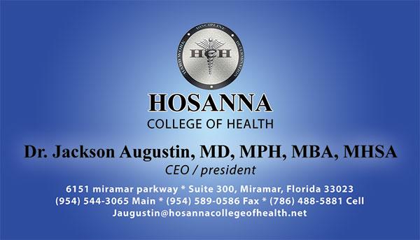 Business Card for Hosanna college of Health.