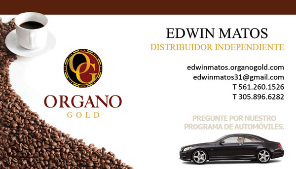 Edwin Matos Organo Gold Business Cards