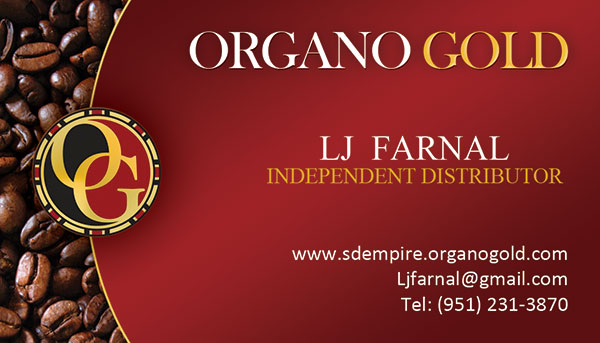 LJ Farnal Organo Gold Business Card