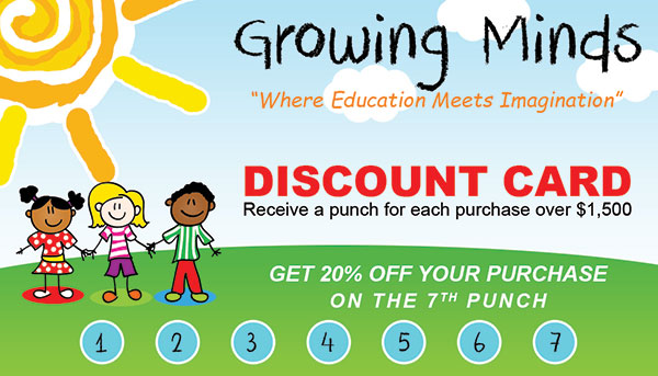 Discount Cards design for Growing Minds.