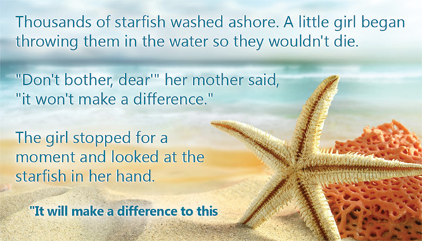Girl throws star fish in ocean to make a difference.