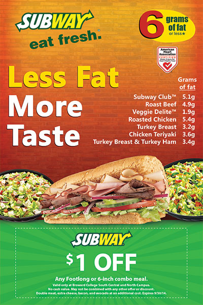Subway Healthy Options 6 Grams of Fat Flyer Design