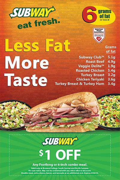 Subway Healthy Options 6 Grams of Fat Flyer Design