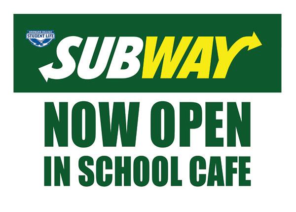 "Subway Restaurant ""Now Open"" Yard Sign."