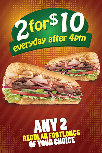 Subway Restaurant 2 for $10 foot long window cling design.
