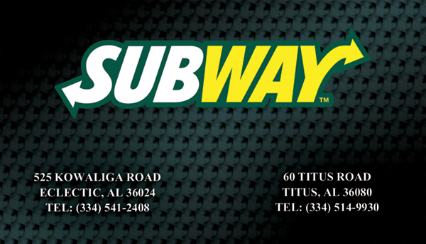 Subway Business Cards for a restaurant in Eclectic Alabama.