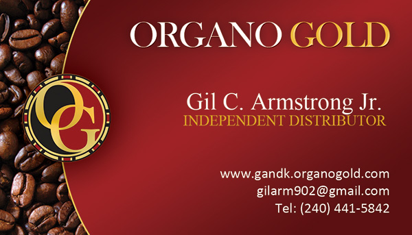 Organo Gold Business Card for Gil G. Armstrong Jr.