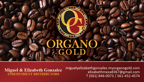 Miguel and Elizabeth Gonzalez Organo Gold Business Cards