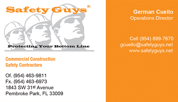 German Cuello business card for Safety Guys of Florida