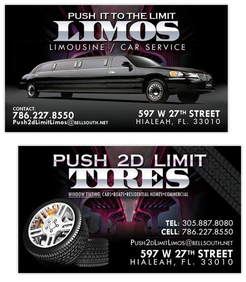 Business Card Design Push 2d Limit Tires Amp Limos Hialeah