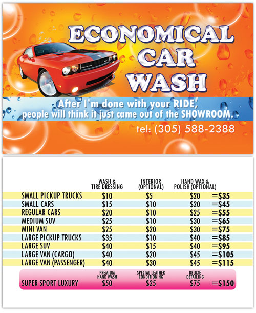 Business Card Design Economical Car Wash Of Hallandale Fl