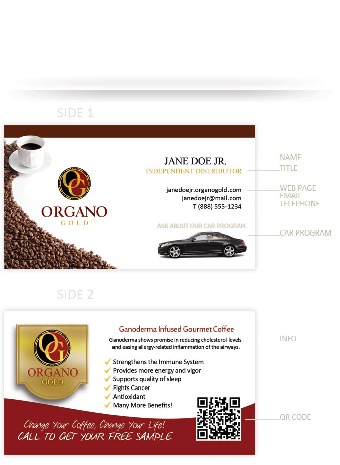organo-gold-business-cards - Tight Designs & Printing of Florida