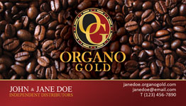 Organo Gold Cool Beans business card design