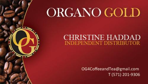 Christine Haddad Organo Gold Distributor business card