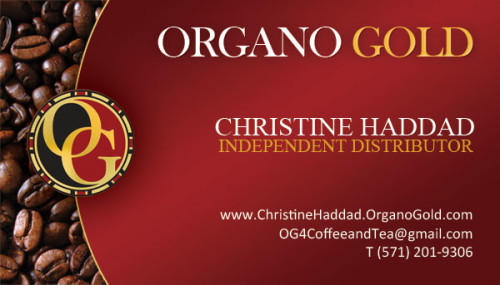 Christine Haddad Organo Gold Distributor business card