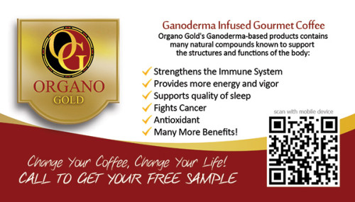 Cheap Organo Gold business cards for Renee T. Durhan.