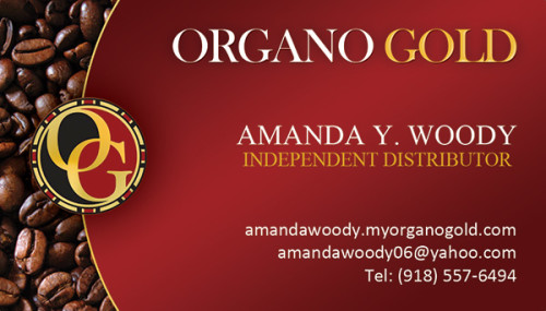 Business Card for independent distributor Amanda Y Woody of Organo Gold.