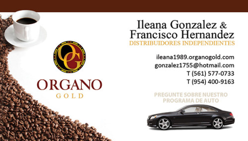 Ilean Gonzalez Organo Gold business card in Spanish.