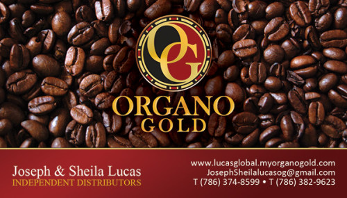 Joseph & Sheila Lucas Organo Gold Business Cards