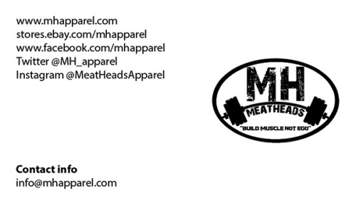 Business Cards for an apparel company for the gym called Meat Head.
