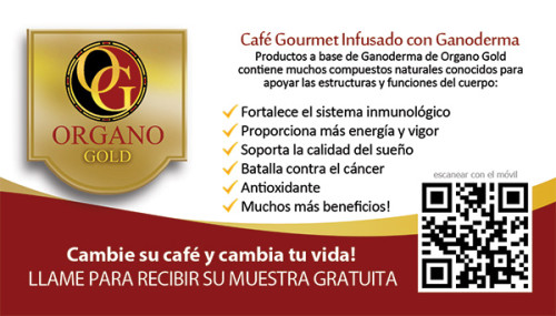 Organo Gold tarjeta de vista en Español. OG business card in spanish.