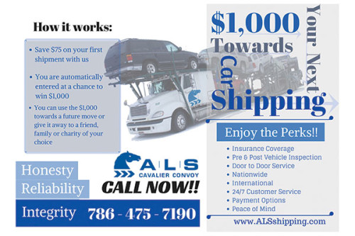 Flyer for ALS Shipping company.