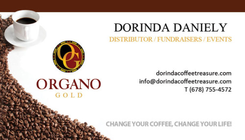 Dorinda Organo Gold Business Cards.