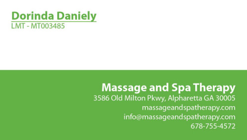 Dorinda Massage Spa Therapy business cards.