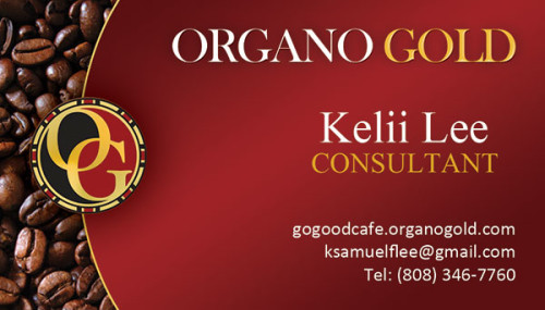 Kelii Lee Organo Gold Business Card.