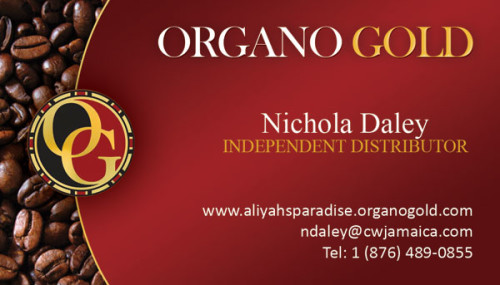 Organo Gold Business Card for Nichola Daley.