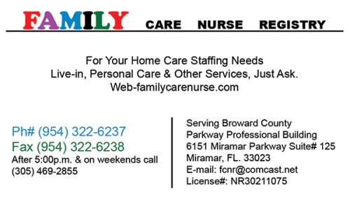 Business card for Family Care Nurse registry of Miramar, FL.