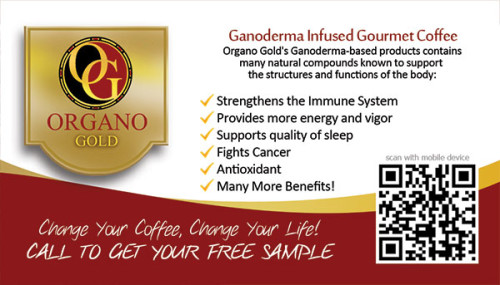 Organo Gold business card with QR code for Reggie Stewart.