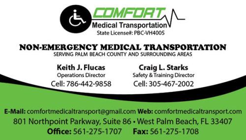 Business Cards for Comfort Medical Transport.