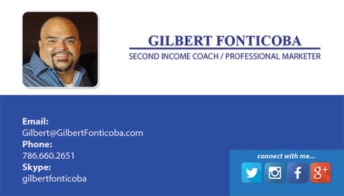 Business Card for professional marketer Gilbert Fonticoba.