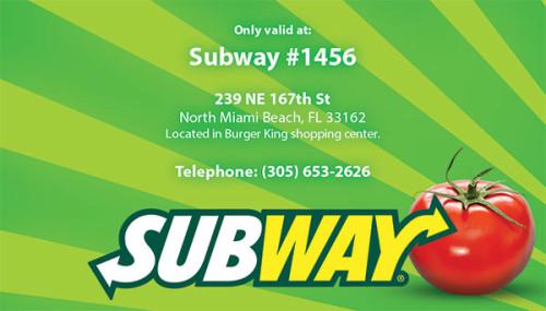 Subway Rewards card design & Printing for North Miami Beach store.