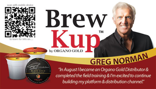 Rhonda Davis Organo Gold Business Cards with QR Code for Greg Norman.
