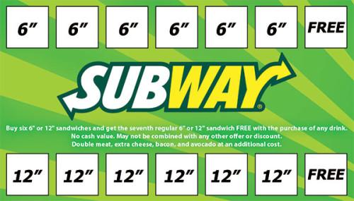 Subway rewards card graphic design.