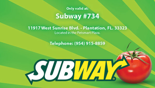 Design for a Subway rewards card in Florida.