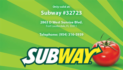 Subway restaurant Rewards Card design and print.