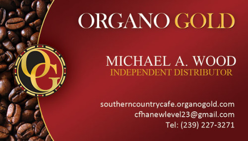 Michael A. Wood Organo Gold Business Cards