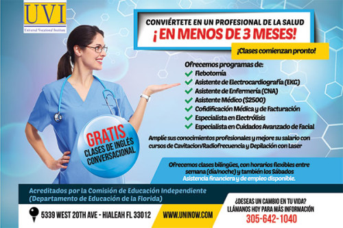Flyer design for Universal Vocational Institute in Hialeah.