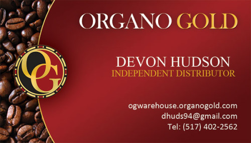 Organo Gold Business Cards for Devon Hudson.