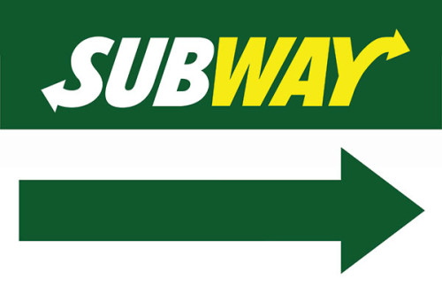Subway Restaurant Sign Arrow pointing right.