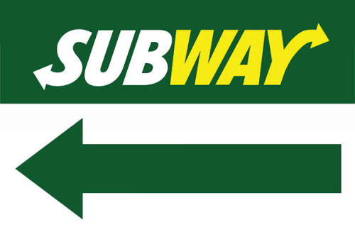 Subway Restaurant Sign Arrow pointing left.